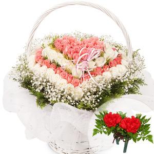 분홍백장미하트사랑(코사지1개무료증정)